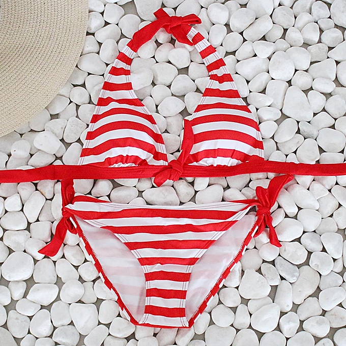 Fashion ZEN femmes Bikini Set Striped Swimsuit Swimwear Beachwear Bathing Suit RD L à prix pas cher