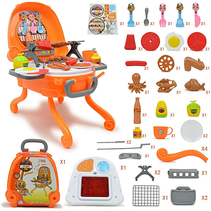 OEM The Old Tree 40Pcs Barbecue Game BBQ Grill Set Pretend Play Cooking Toy for Enfants Toddler à prix pas cher