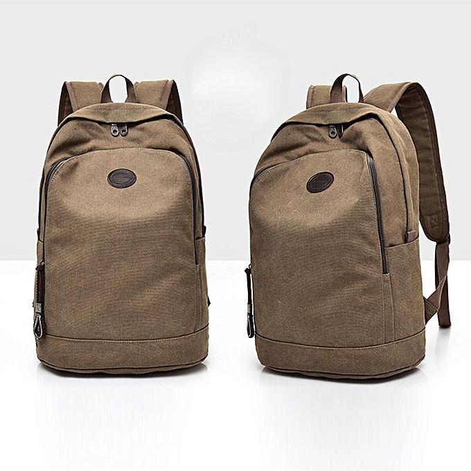 Fashion blicool travel wallet Casual Men Canvas Backpack School Travel Student School Laptop wallet-Coffee à prix pas cher