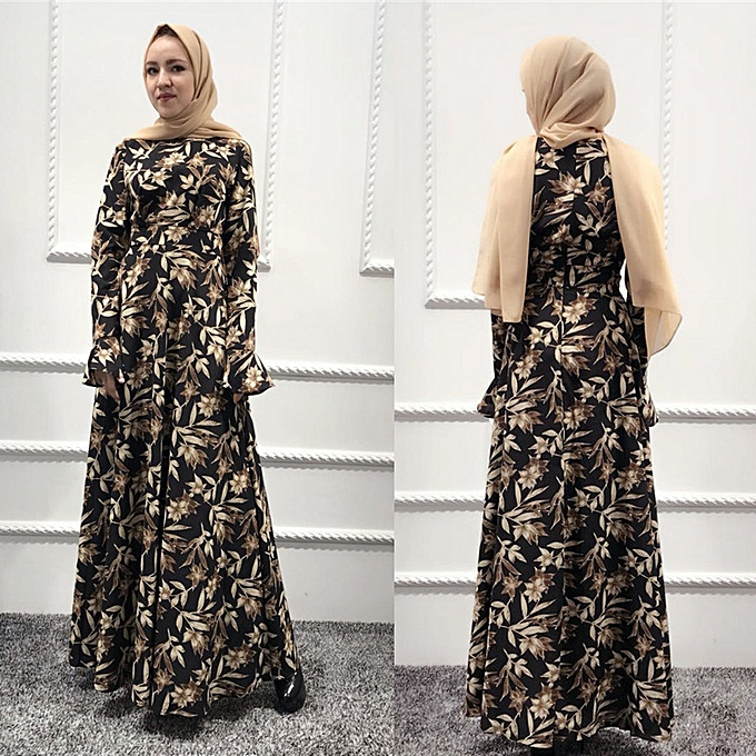 Fashion Hiamok Muslim femmes Long Maxi Dress Robe Abaya Islamic Flower Dubai Cardigan Ramadan à prix pas cher