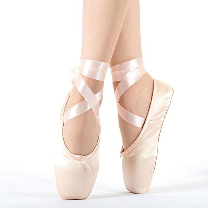 Fashion femmes rose Ballet Dance Toe chaussures Professional Ladies Satin Pointe chaussures Silk rose-EU à prix pas cher