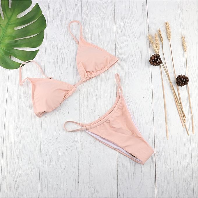 Autre Thong Bikini 2019 femmes Bequini maillot de bain été Bathing Suit Push Up Padded maillot de bain y Monokini Support Resell(B rose) à prix pas cher