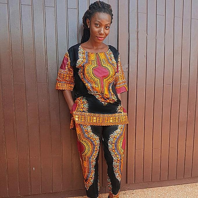 Generic Xiuxingzi femmes mode African Print Décontracté Straight Print hauts+Pants à prix pas cher