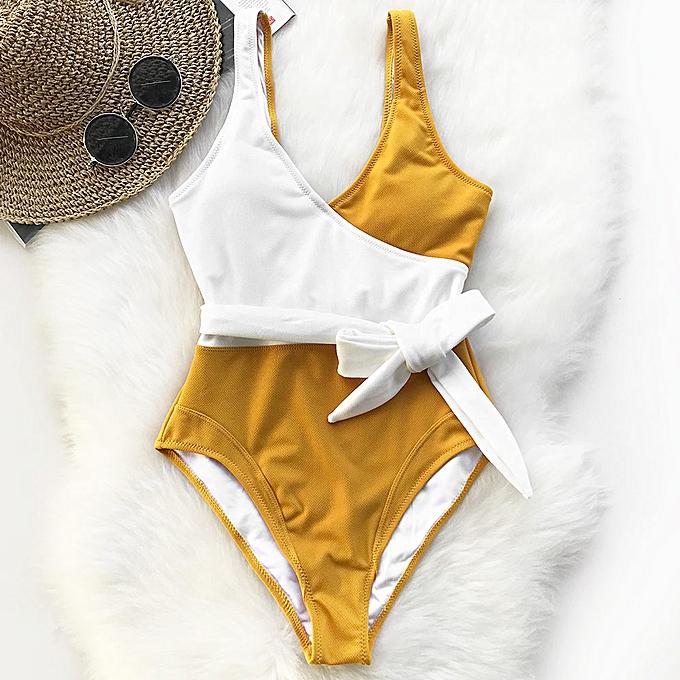 Autre jaune And blanc Couleurblock One-piece Swimsuit femmes Patchwork Belt Bow Monokini 2019 V-neck Beach Bathing Suit Swimwear( Multi) à prix pas cher