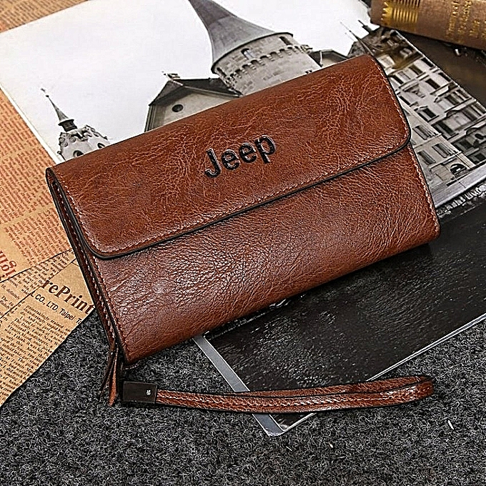 Fashion Jeep Cowhide Leather Wallet Leisure Handbag Men Clutch Hand Bag Large Purse Card Holders (Khaki) à prix pas cher