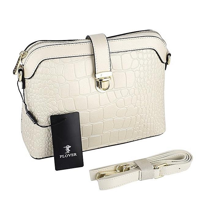Generic femmes Single Shoulder sac bandoulière sac with Crocodile Grain &Detachable Strap blanc à prix pas cher