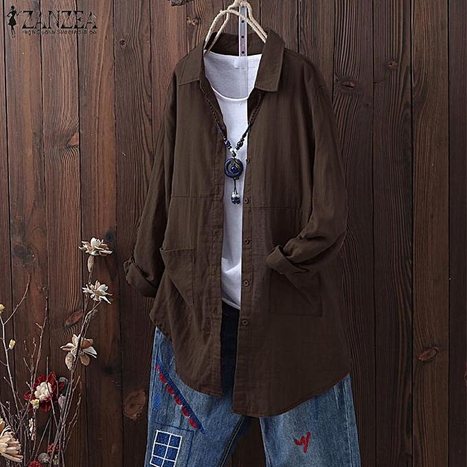 mode ZANZEA femmes Buttons Down Turn Down Collar Shirt hauts OverTaille chemisier Plus Taille à prix pas cher
