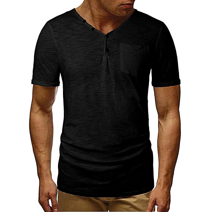 Fashion whiskyky store Men's Summer Fashion Self-Cultivation V-Neck Short-Sleeved T-shirt Blouse Top à prix pas cher