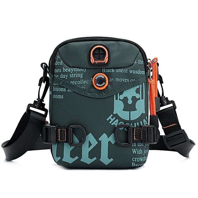 Other Multifunctional Shoulder Messenger Bag Waterproof Nylon Graffiti Letter Printing Waist Packs Earphone Hole Crossbody Bags XA18C(lake vert) à prix pas cher