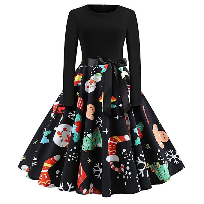 OEM Nouveau ladies explosion de Noël rétro col rond impression hommeches longues grande robe-multi3 à prix pas cher