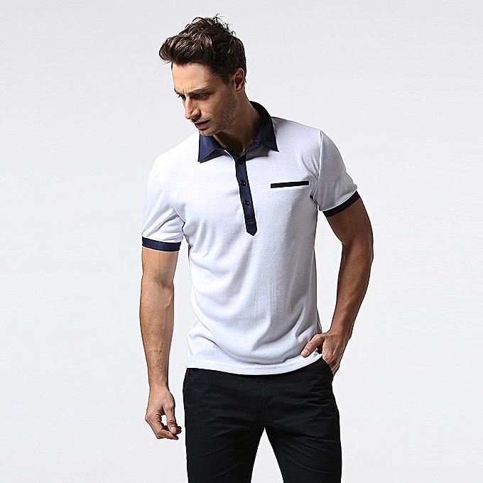 mode petit Stand Collar Single-breasted Door Placket Hommes& 039;s T-shirts Décontracté Solid Couleur courte-sleeved hauts à prix pas cher