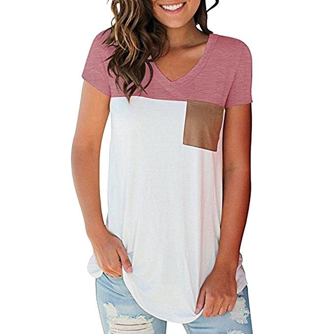 mode Meibaol store femmes Décontracté manche courte V-Neck Couleur Block hauts With Suede Pocket T-Shirt Top à prix pas cher