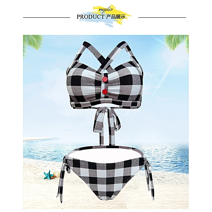 Fashion Swimsuit plaid triangle bikini backless sexy strappy swimsuit femmes à prix pas cher