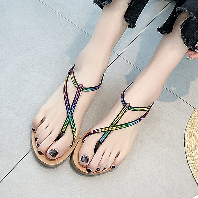 mode jiahsyc store femmes été Rhinestones Open Toe Flat  Wild Sandals Slippers plage Walk chaussures à prix pas cher