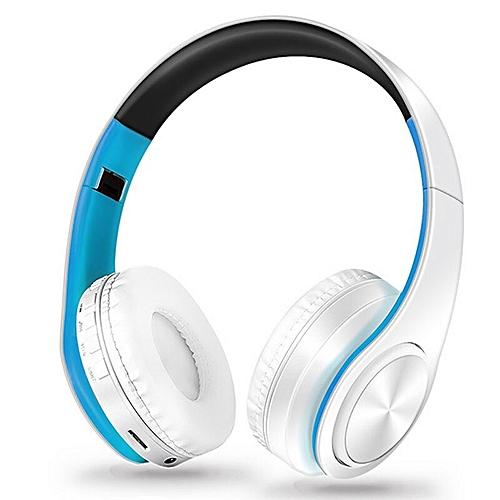 HIFI Stereo Earphones Wireless Earphones Bluetooth Headphone Music Headset  FM SD Card Play Music for xiaomi iphone Mobile Phone(white blue)