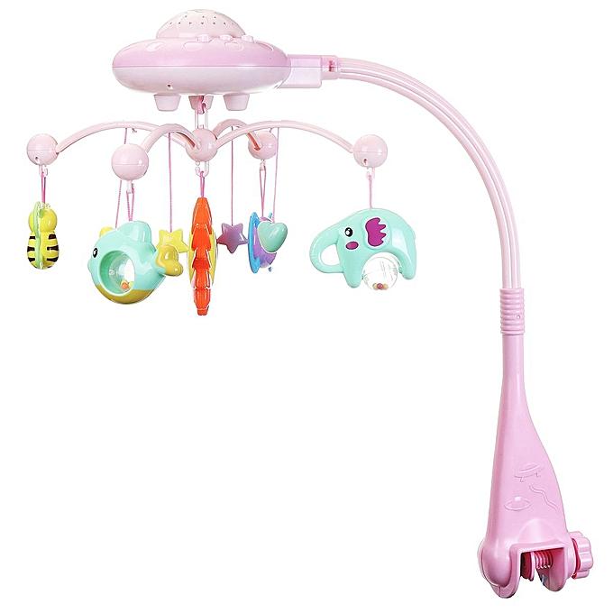 UNIVERSAL   Musical Crib Mobile Bed Bell Toys Plastic Hanging Rattles Stars lumière Flash à prix pas cher