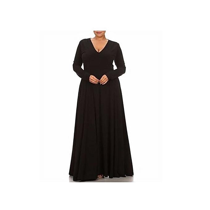 Fashion Sexy Fashion Pure Couleur Long Dress V-neck Big Pendulum Type Maxi Dress Plus Taille 5XL femmes ClothingVestidos De Festa-noir à prix pas cher