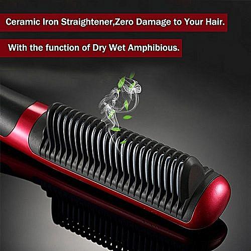 Brosse Hair Straightener Lissante Et Chauffante Rouge