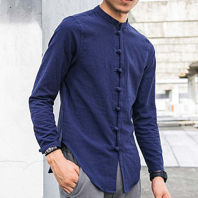 Fashion Men's Casual Tops Summer Long-Sleeve T-Shirt Buton Linen Solid Blouse- bleu à prix pas cher