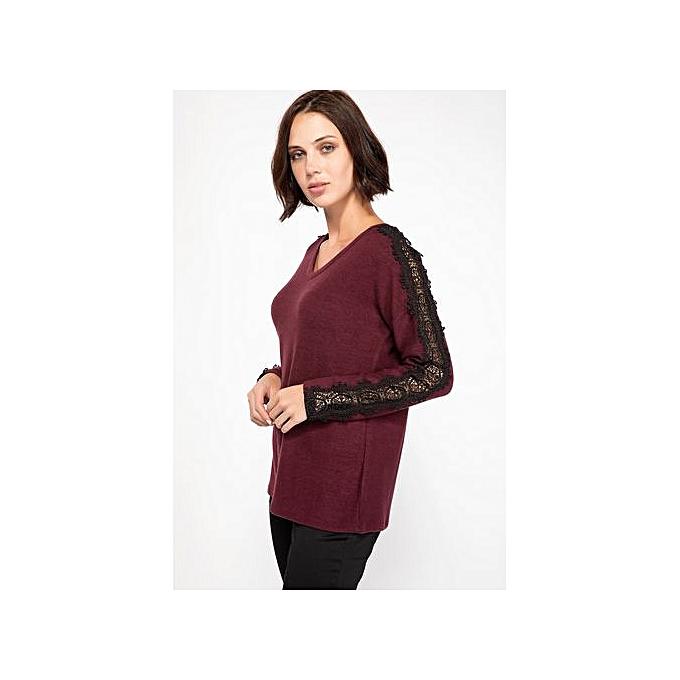 Defacto T-shirt avec hommeches longues Femme-Bordeaux à prix pas cher