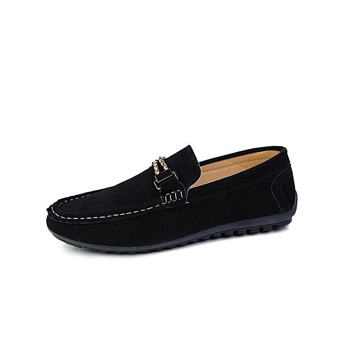 HT Pour des hommes Loafers With or chaîne At Front-noir à prix pas cher