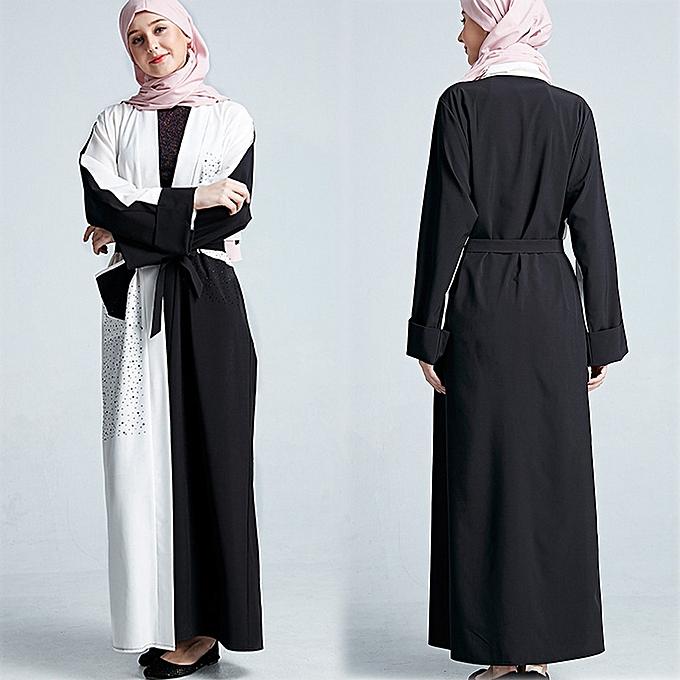 mode Hiamok Dubai Robe Robe Patchwork voituredigan Muslim femmes Open Front Islamic Long Abaya à prix pas cher