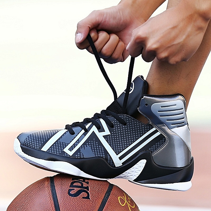 Other Stylish Stylish Men's High Top Sports chaussures Shockproof Luminous Basketball chaussures -noir gris à prix pas cher