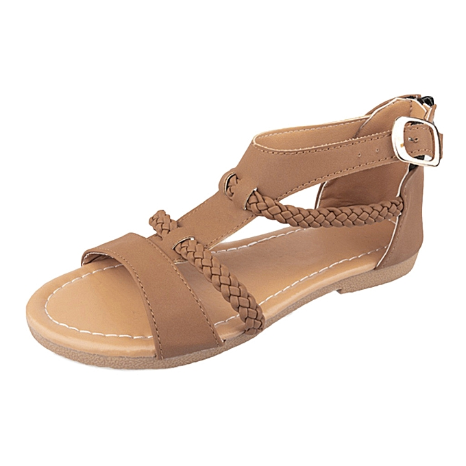 Fashion TEC Wohommes LadiesBuckle Ankle Strap Braided Sandals Casual chaussures à prix pas cher