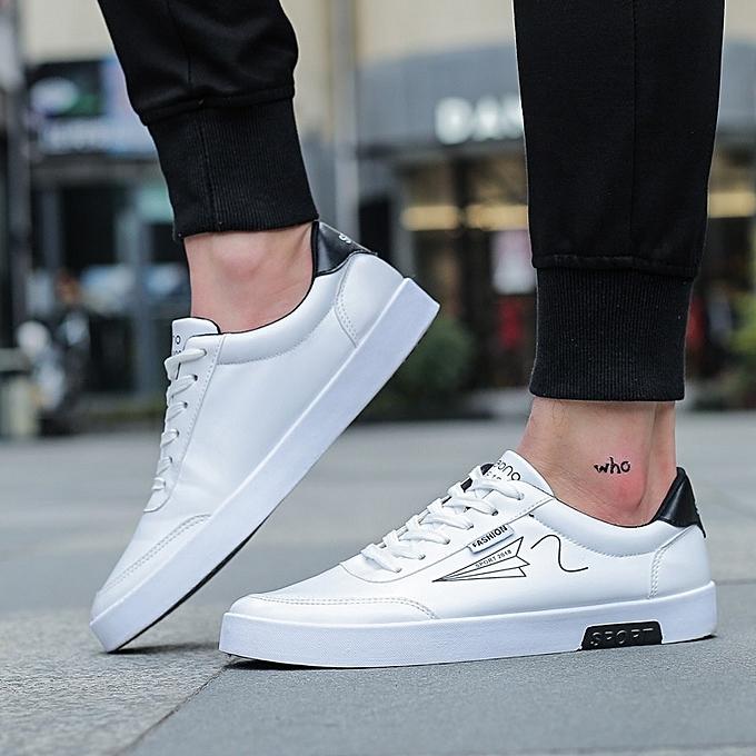 Other mode Spbague and été Hommes Décontracté chaussures PU Flat chaussures for Hommes-blanc à prix pas cher