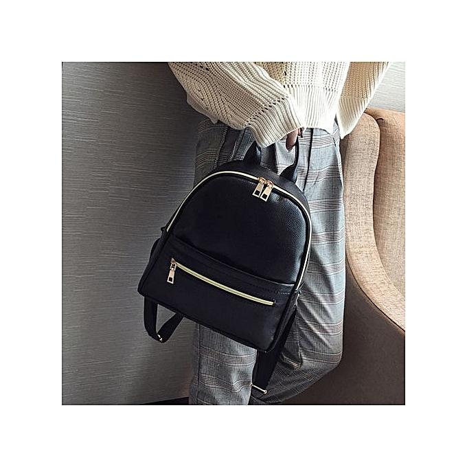 Fashion SingedanWohommes Fashion Leather Solid School Bag Travel Backpack Bag B -noir à prix pas cher