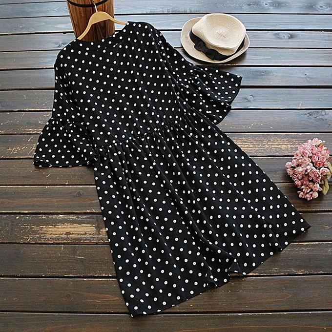 Zanzea UK femmes Plus Taille Polka Dot Bell Sleeve Loose Frill Tunic Tops Shirt Dress à prix pas cher
