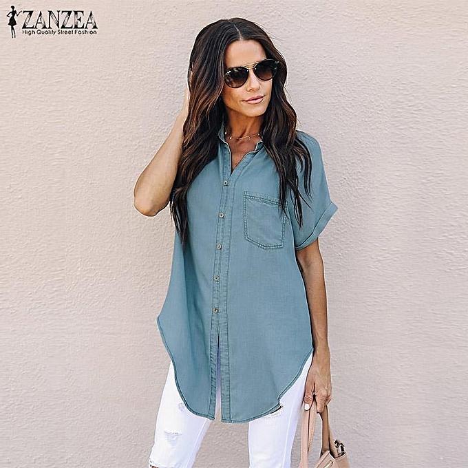 Zanzea Chemise boutonnée à hommeches courtes ZANZEA pour femmes Chemisier en denim à prix pas cher