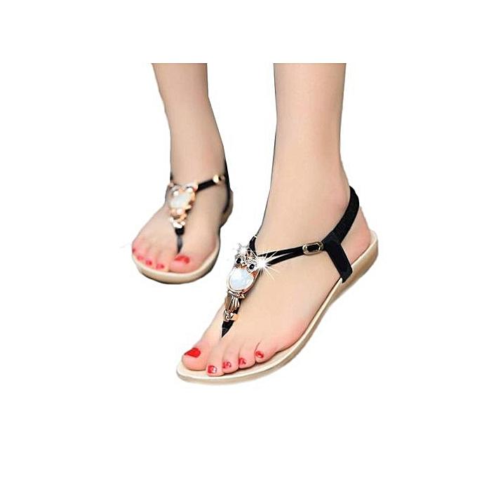 Fashion Hiamok_femmes Rhinestone Owl Sweet Sandals Clip Toe Sandals Beach chaussures BK 41 à prix pas cher