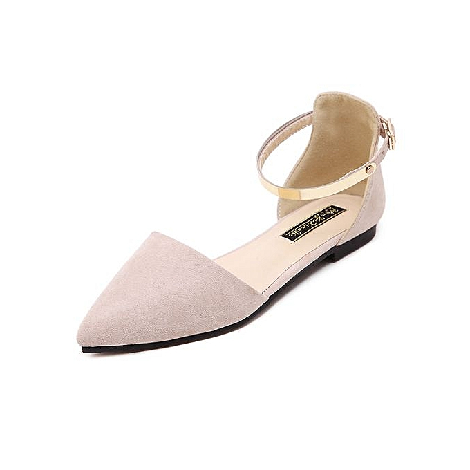 Fashion 2017 Wohommes Pointed Toe Ankle Strap chaussures Ballet Flats Spring Casual Sandals BEIGE à prix pas cher    Jumia Maroc