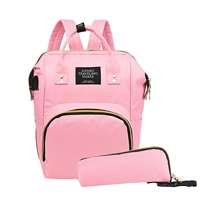 Other 2pcs set USB sac à dos Set for   Oxford voyage sac à doss with Bottle sac Maternity Nappy sac grand capacité   Diaper sacs(lumière rose) à prix pas cher