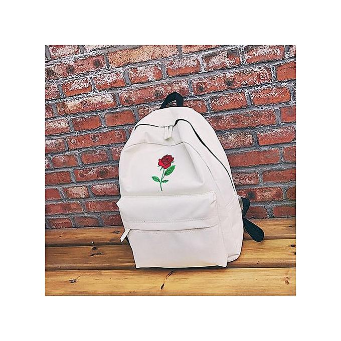 mode femmes Girls toile Embroidery FFaibleers School sac voyage sac à dos sac WH -blanc à prix pas cher