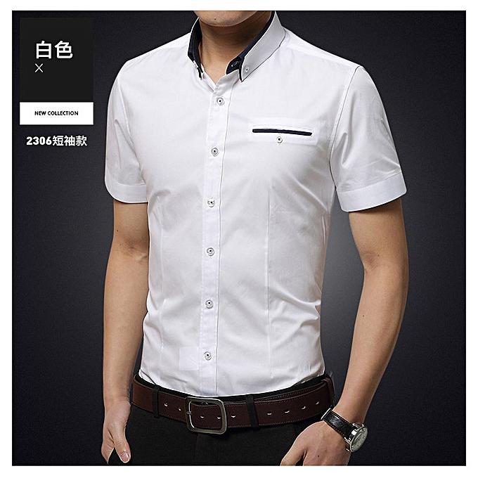 mode mode male Affaires youth slim trend thin section Décontracté courte-sleeved shirt blanc à prix pas cher