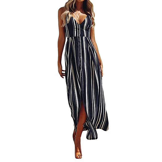 Fashion TCE femmes Sleeveless noirlessDress Lady BeachStripeDress à prix pas cher
