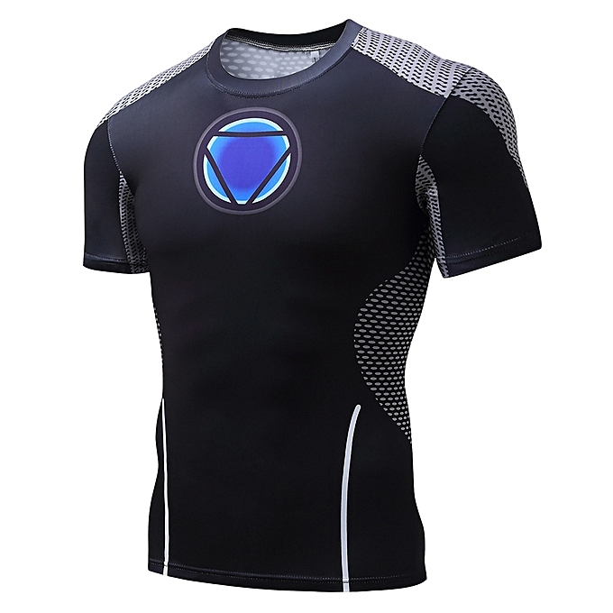 Other 2018 Mens Superhero Compression Shirt Iron Man Fit Tight Gym Sport T-Shirt à prix pas cher