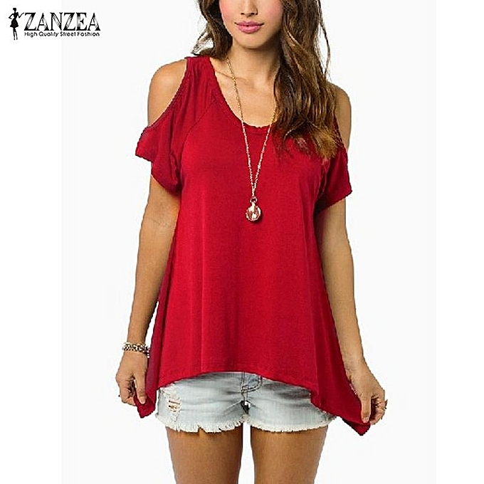 Zanzea OverTailled ZANZEA femmes Blouses Shirts Casual Loose Short Sleeve  V Neck Off Shoulder Tops Tees (Wine rouge) à prix pas cher