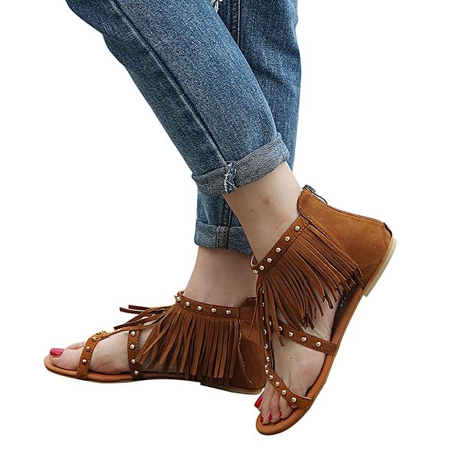 mode Xiuxingzi femmes mode Solid Couleur Rivet Tassels Flat Heel Sandals Rome chaussures marron à prix pas cher