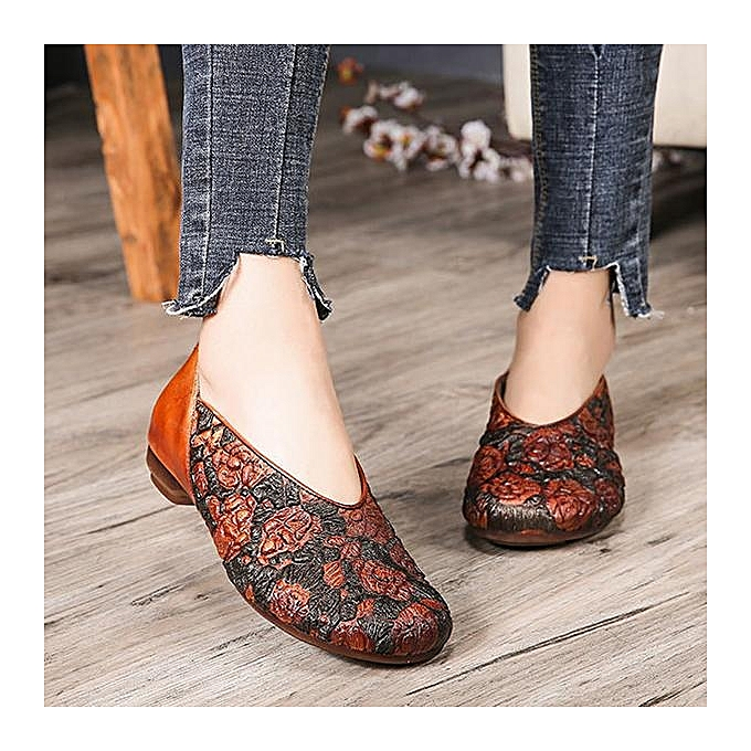 Fashion SOCOFY Fashion Leather WoHommes  Retro Pringting Rose Pattern Soft Flat Leather Fashion Shoes Loafers à prix pas cher  | Jumia Maroc 20e6ef