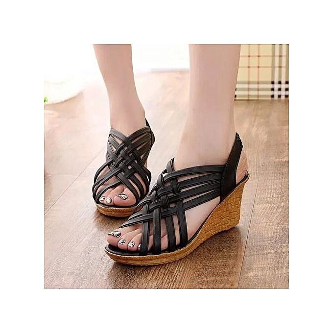 OEM Large Taille Wohommes chaussures summer wedges with muffin platform sandals femmes noir à prix pas cher    Jumia Maroc