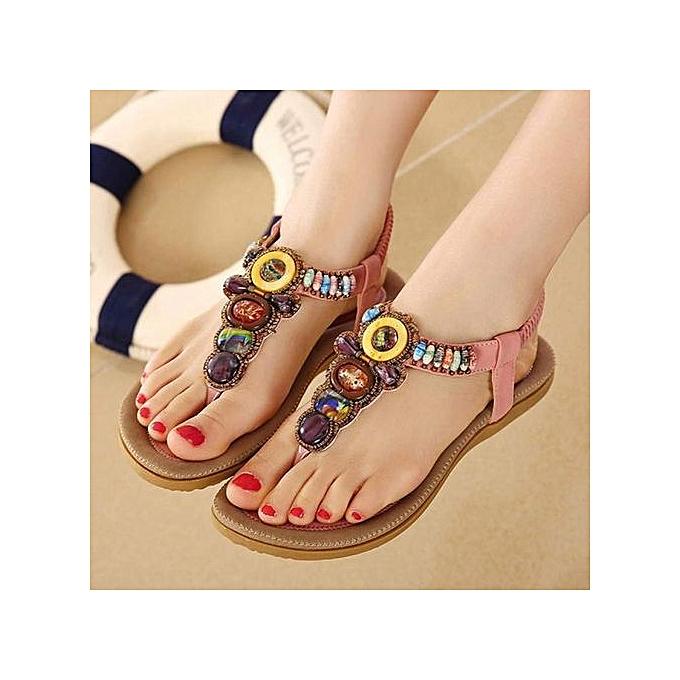 Fashion Xiuxingzi Wohommes Fashion Sweet Beaded Clip Toe Flats Bohemian Herringbone Sandals PK 42 à prix pas cher