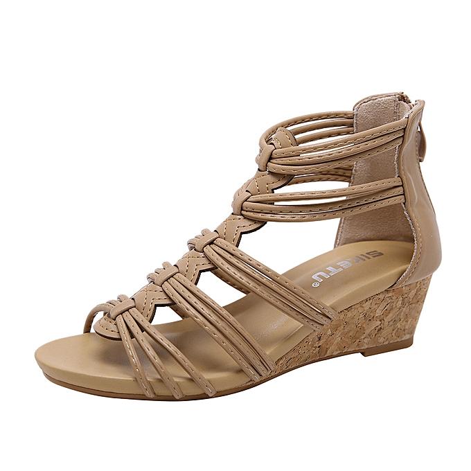 Fashion Wohommes Flat Back Zipper Sandals Open Toe Ankle Summer chaussures à prix pas cher