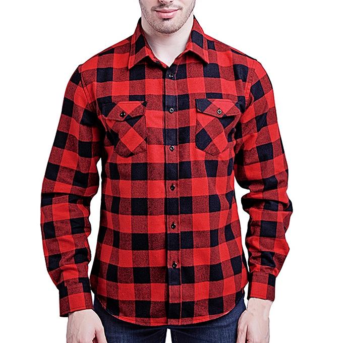 Fashion Men's Fashion Casual Long Sleeved Shirt Double Pocket Lattice Printed Shirt à prix pas cher