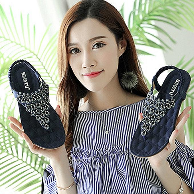 Generic Tcetoctre femmes Flat chaussures Bead Bohemia Lady Slippe Sandals Peep-Toe de plein air chaussures-bleu à prix pas cher