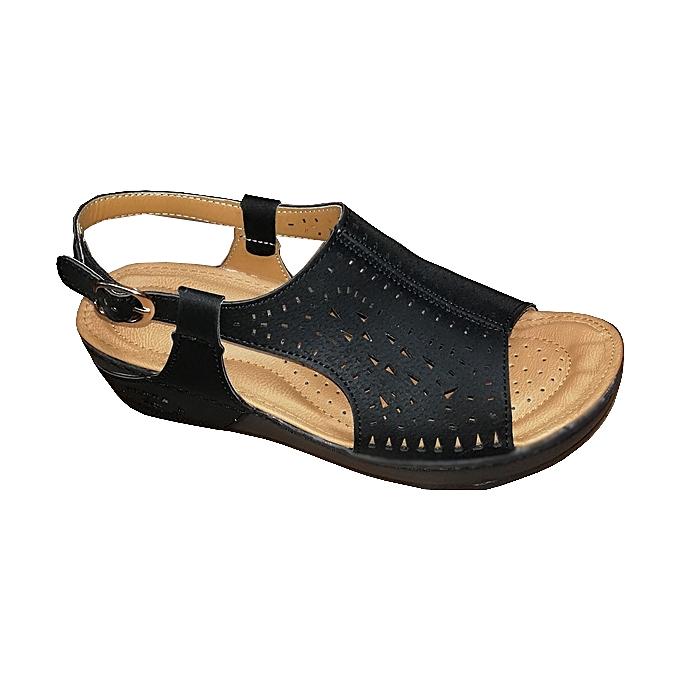 Sandales médicale de luxe Femme avec Rembourrée semelle pour un Confort  absolu - Noir 2060fefa6a9