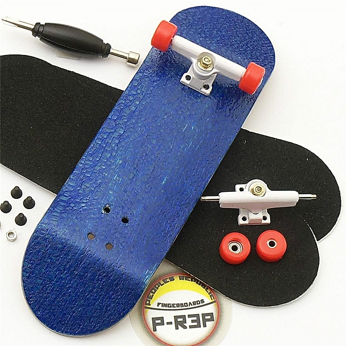 UNIVERSAL 10 Set Basic Complete Wooden Fingerboard Finger Scooter with Bearing Grit Box Foam Tape bleu à prix pas cher