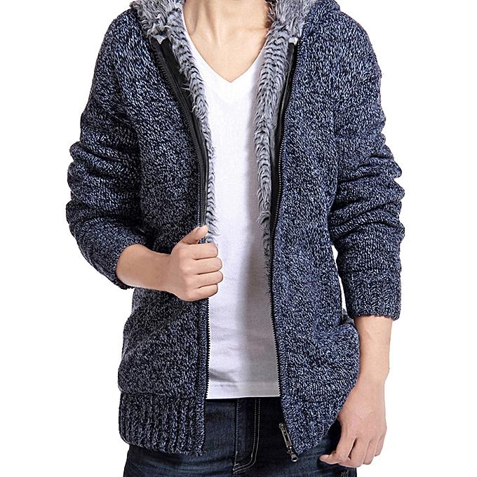 Fashion Men's Autumn Winter Coats Hodded  Casual Hoodies Sweater Coats Blouse -bleu à prix pas cher